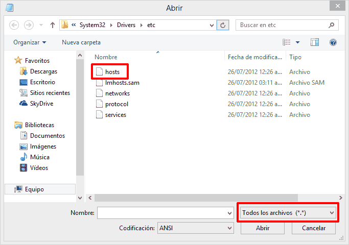 Archivo Hosts de Windows