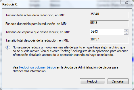 Redimensionar particiones en Windows 7