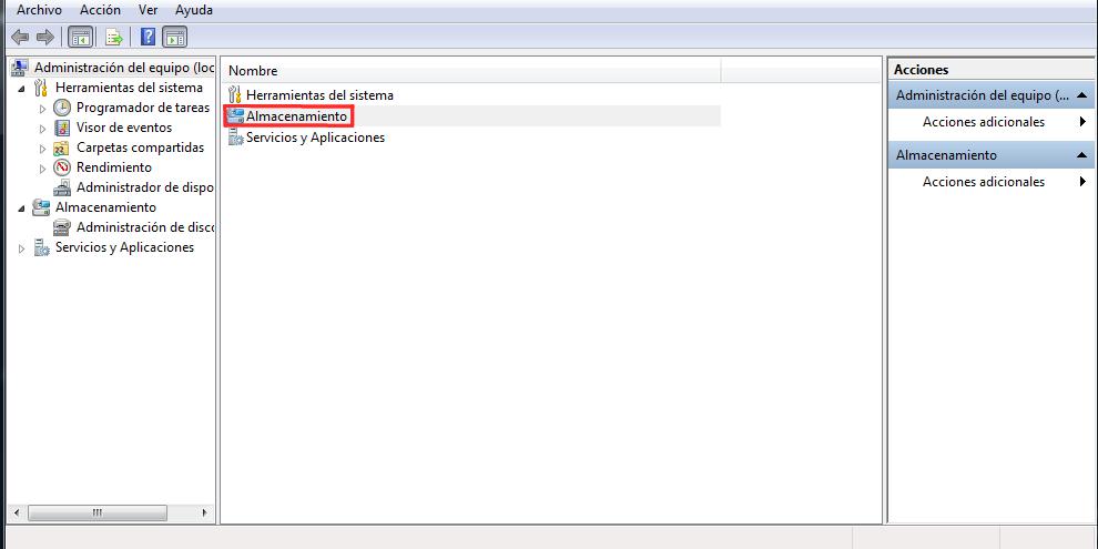 Opciones de Almacenamiento en Windows