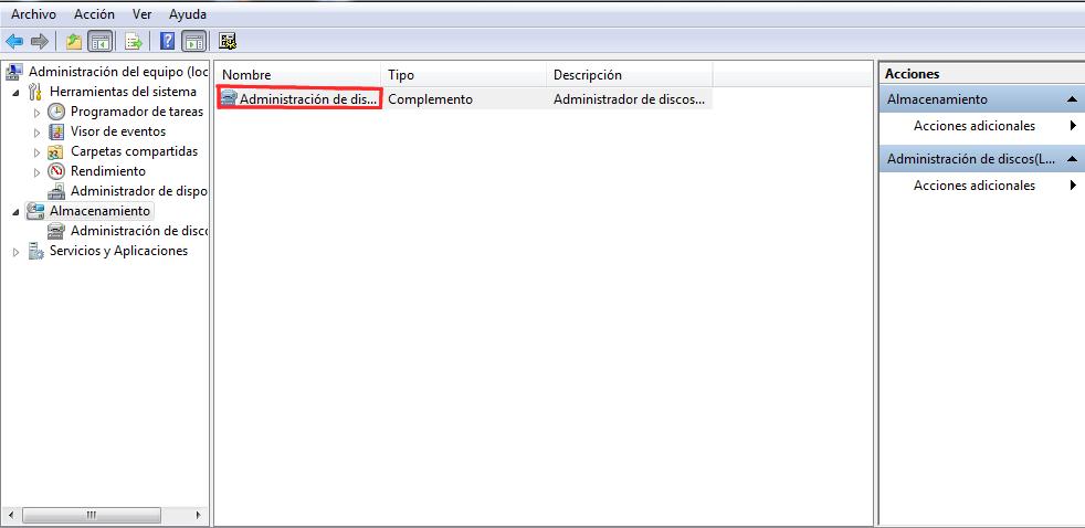 Almacenamiento de Discos Windows 7