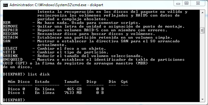 MS-DOS List Disk