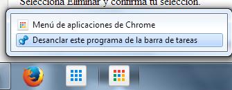 Eliminar menú de Google Chrome
