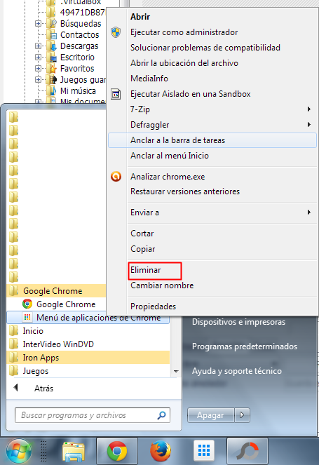 Como eliminar el menú de aplicaciones de Google Chrome en Windows