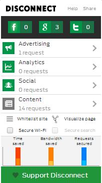 Aplicaciones como Disconnect y Ghostery bloquean las conexiones no autorizadas de un sitio web, evitando así la publicidad