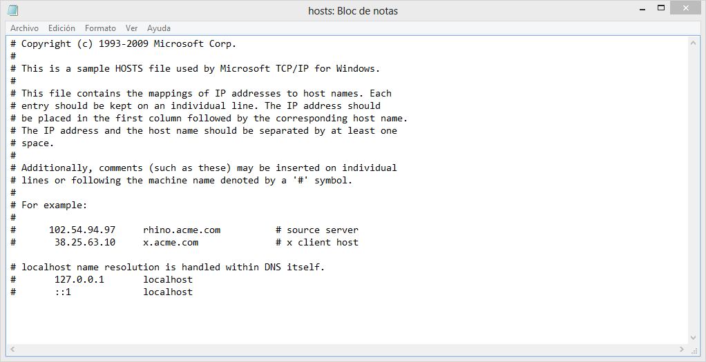 Bloquear sitios web con el archivo hosts