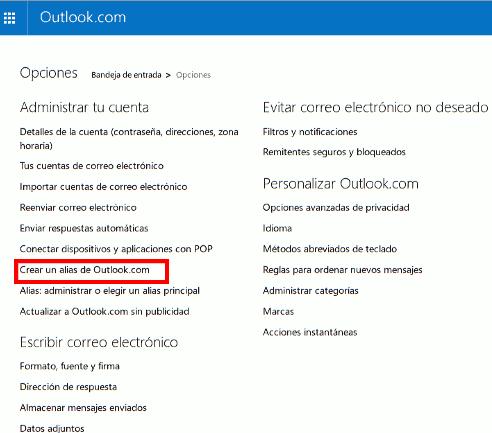 Crear un alias en Outlook.com