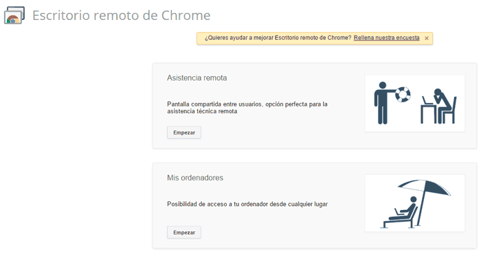 Google Chrome Escritorio remoto
