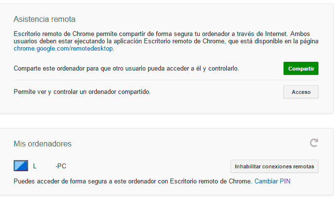 Mis Ordenadores Chrome Remote Desktop