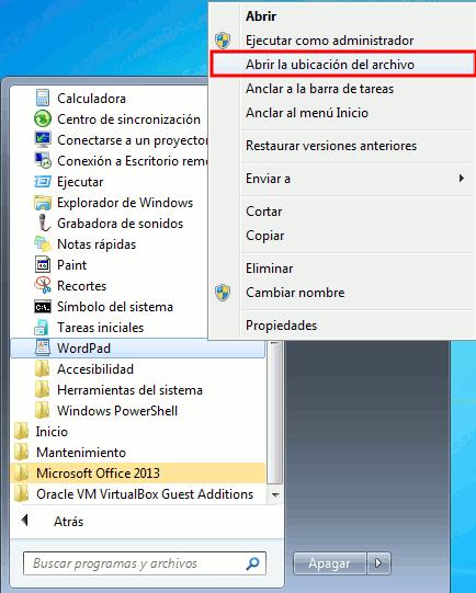 Abrir ubicación de archivo Windows 7