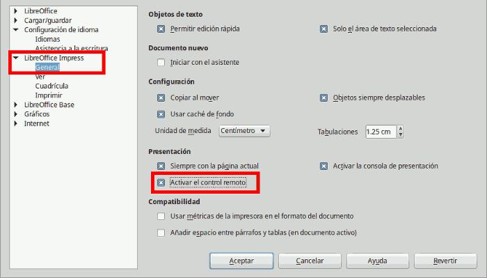 Control remoto Libreoffice Impress