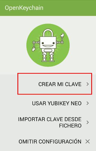 OpenKeyChain Crear clave