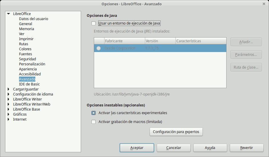 Deshabilitar Java LibreOffice