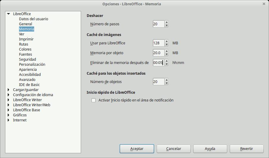 Ajustes de LibreOffice