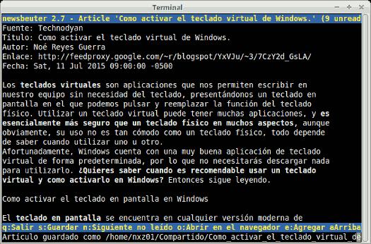 Una entrada mostrada en Newsbeuter sólo se compone de texto, al no mostrar Newsbeuter botones o imágenes