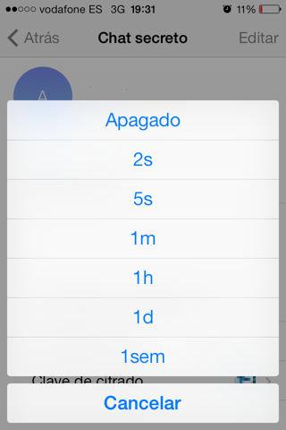 Telegram también cuenta con una opción para auto destruir mensajes