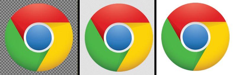 Las imágenes transparentes en Google Chrome no tienen un color o una cuadricula que nos permita diferenciarlas de una imagen con fondo blanco. En la imagen, el mismo icono en Gimp, Firefox y Google Chrome, respectivamente.