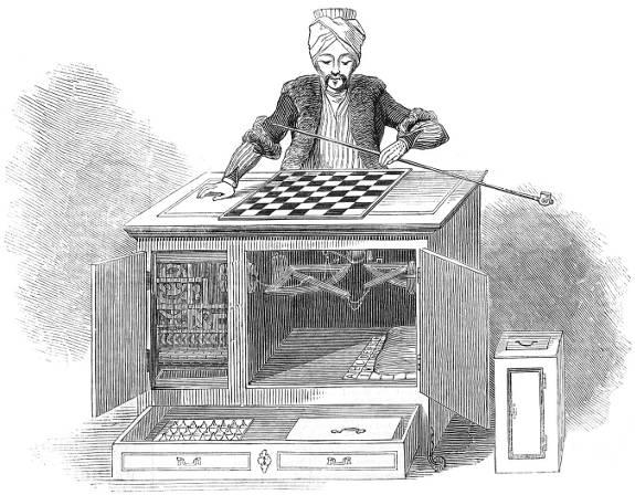"""""""El Turco"""", de 1769, fue un falso autómata que jugaba ajedrez, su popularidad fue tal, que llego a jugar (y ganar) una partida contra Napoleón Bonaparte. Aunque fue una estafa, """"El Turco"""" demostraba el interés que habría en la Inteligencia Artificial en el siglo XVI."""