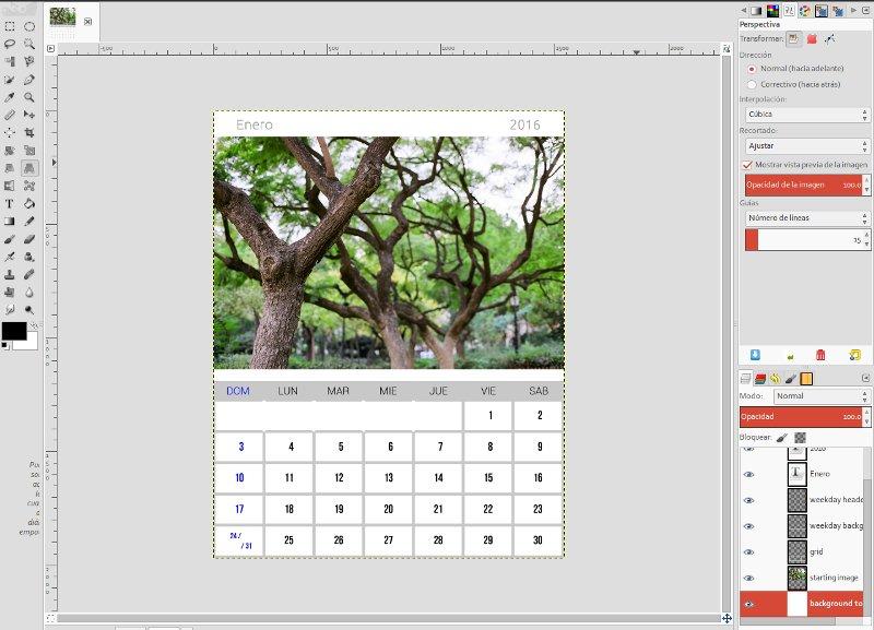 Hacer calendario con foto en Gimp