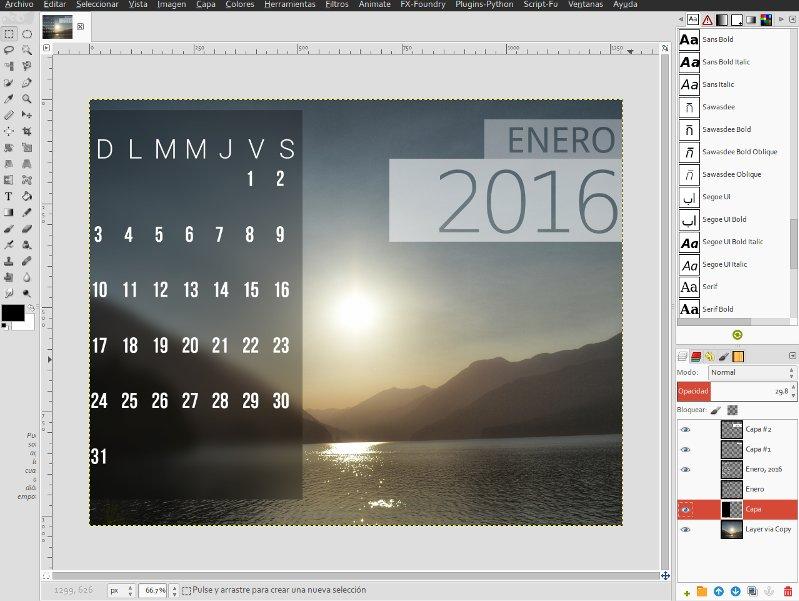 Crear un calendario en Gimp