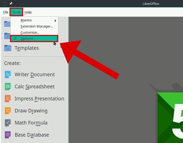 Opciones LibreOffice