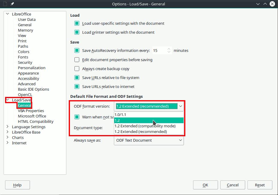 Cambiar formato ODF LibreOffice