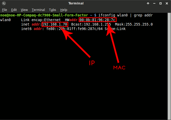 ifconfig Linux terminal