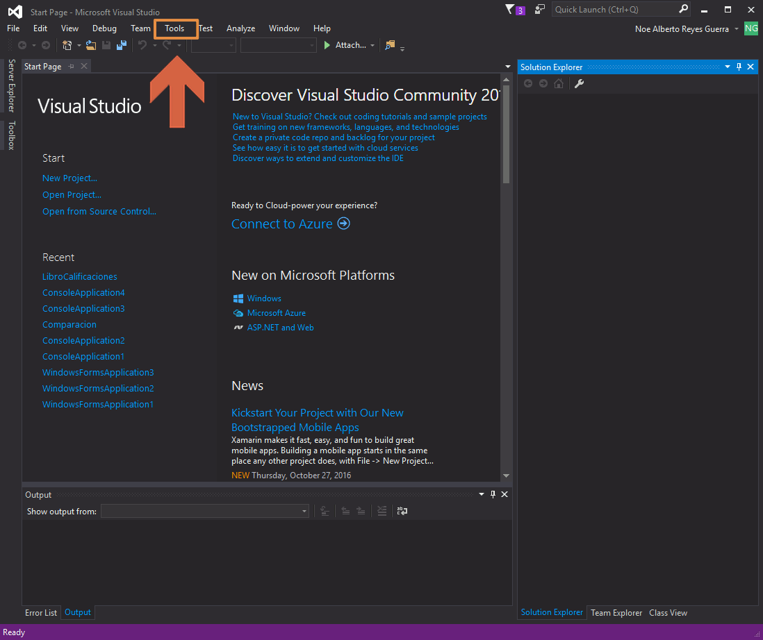 Visual Studio 2015 Tools Menu